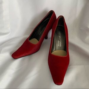 Sergio Rossi Red Pony Hair Heels